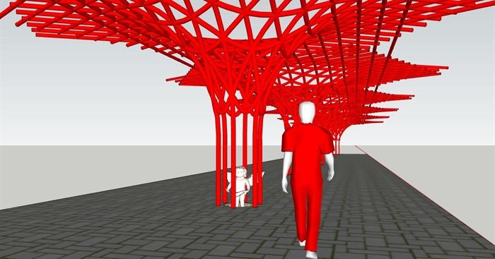 参数化杆件构成式漏斗形景观构架廊架(1)