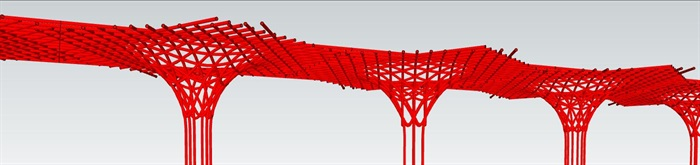 参数化杆件构成式漏斗形景观构架廊架(3)