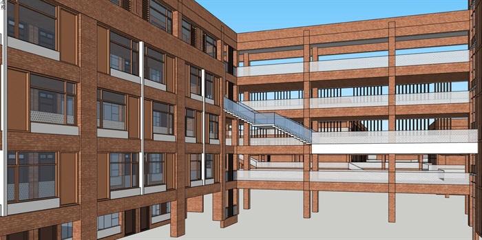 现代创意横列式红砖表皮中小学校校园教学区规划教学楼设计(1)