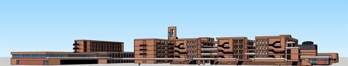 现代创意横列式红砖表皮中小学校校园教学区规划教学楼设计(2)