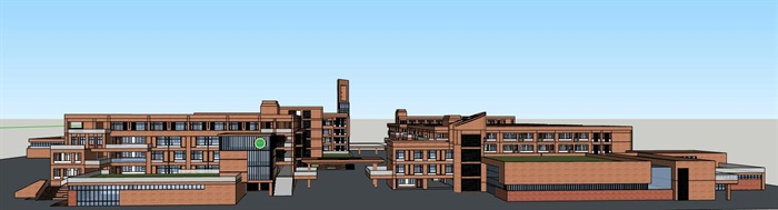 现代创意横列式红砖表皮中小学校校园教学区规划教学楼设计(3)