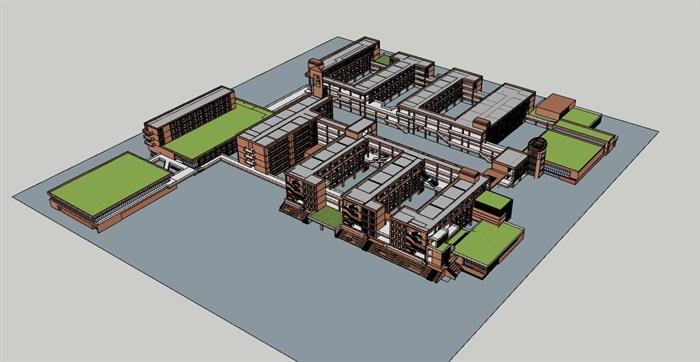 现代创意横列式红砖表皮中小学校校园教学区规划教学楼设计(6)