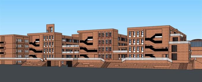 现代创意横列式红砖表皮中小学校校园教学区规划教学楼设计(5)