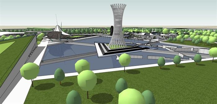 几何分割构图现代大型创意城市绿地公园市民休闲活动广场(1)