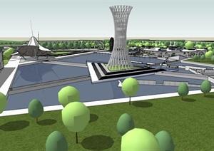 几何分割构图现代大型创意城市绿地公园市民休闲活动广场