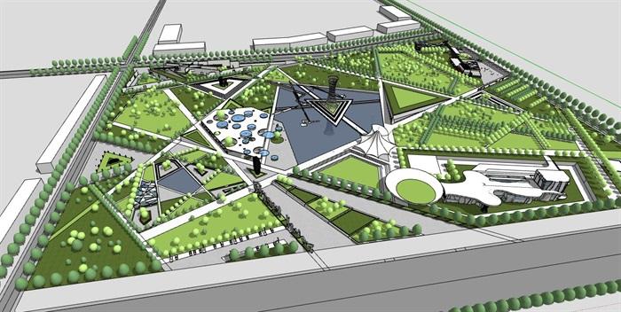 几何分割构图现代大型创意城市绿地公园市民休闲活动广场(3)