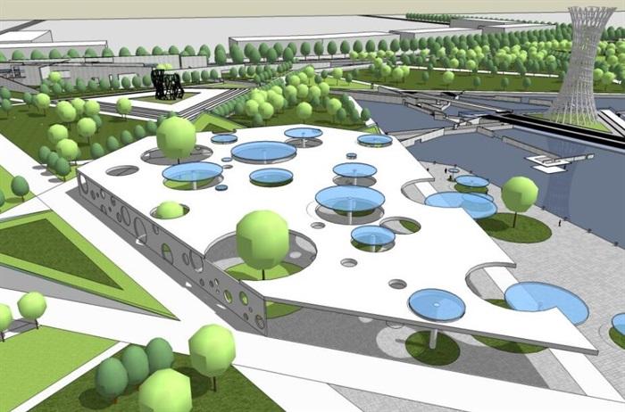 几何分割构图现代大型创意城市绿地公园市民休闲活动广场(5)