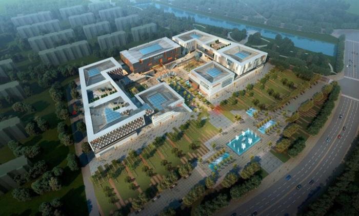 现代中式四坡屋顶参数化表皮大型城市文化馆规划展览博物馆群规划(1)