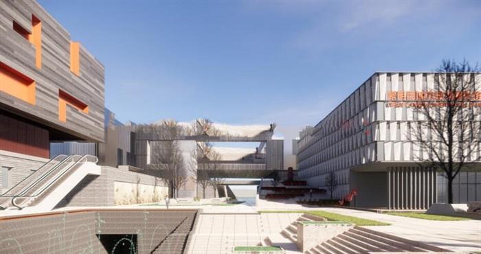 现代中式四坡屋顶参数化表皮大型城市文化馆规划展览博物馆群规划(2)