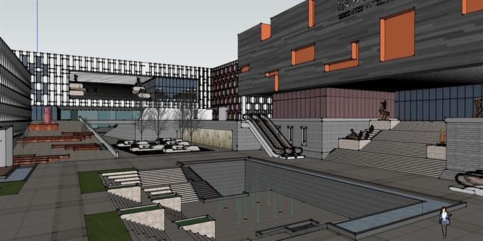 现代中式四坡屋顶参数化表皮大型城市文化馆规划展览博物馆群规划(7)