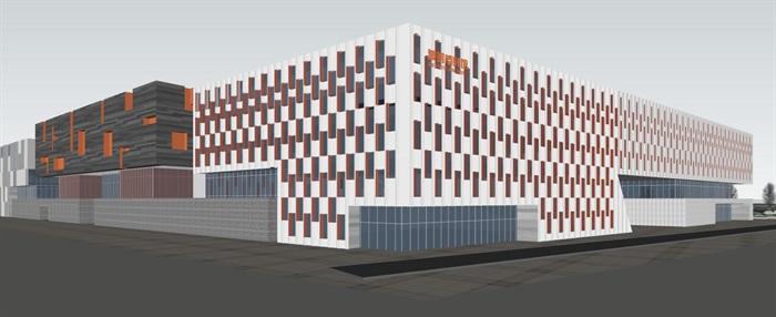 现代中式四坡屋顶参数化表皮大型城市文化馆规划展览博物馆群规划(10)