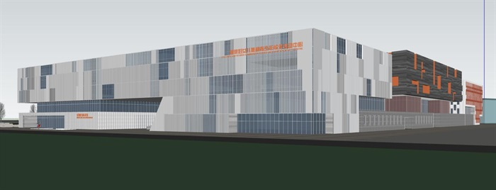 现代中式四坡屋顶参数化表皮大型城市文化馆规划展览博物馆群规划(9)