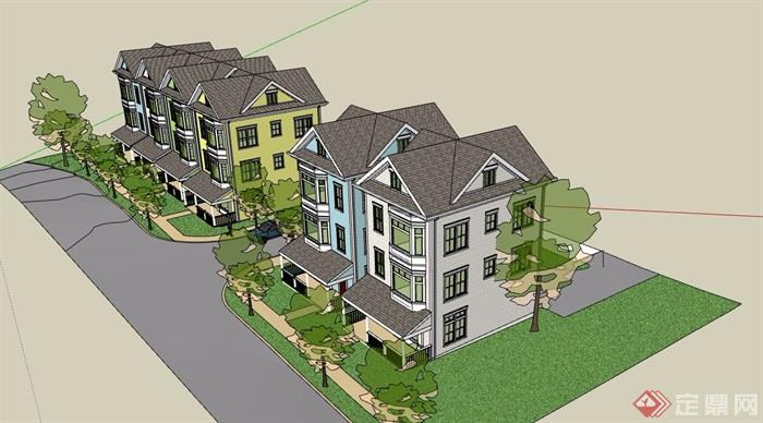 欧式住宅小区别墅设计su模型