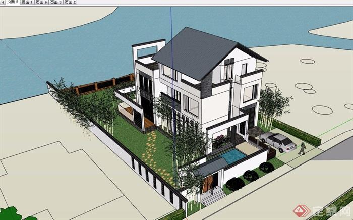中式风格三层别墅建筑及庭院设计su模型