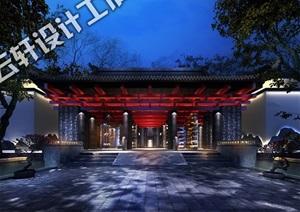 中式建筑酒店设计全套设计3D源文件