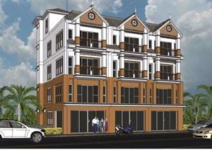 欧式风格商业住宅楼设计SU(草图大师)模型