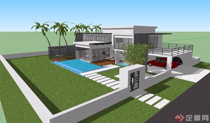 现代经典两层别墅设计su模型