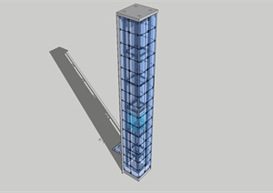 点抓玻璃观光电梯SKETCH Up模型