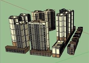 现代详细的商业住宅高层建筑楼设计SU(草图大师)模型