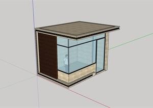 详细经典完整的门卫室素材设计SU(草图大师)模型