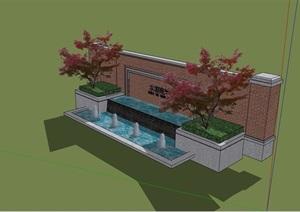 详细完整的水池景墙素材设计SU(草图大师)模型