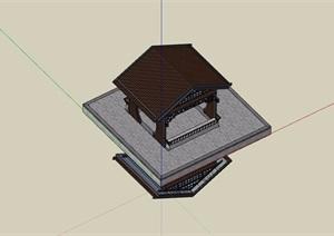 中式详细的休闲亭素材设计SU(草图大师)模型