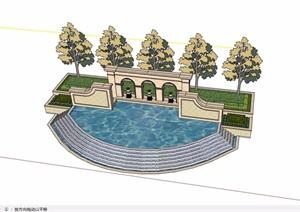 欧式风格详细园林景观景墙水池设计SU(草图大师)模型