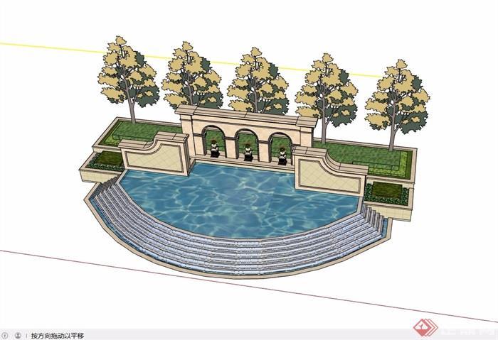 欧式风格详细园林景观景墙水池设计su模型