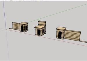 园林景观入口围墙大门SU(草图大师)模型