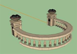 详细的园林景观围栏杆素材设计SU(草图大师)模型