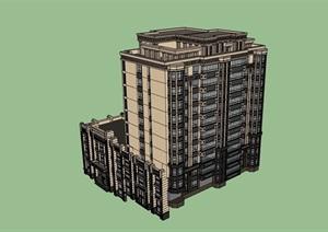 新古典详细的商住楼设计SU(草图大师)模型