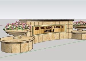 现代风格标志景墙素材设计SU(草图大师)模型