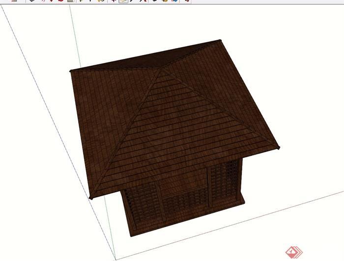 园林景观全木质凉亭素材设计su模型
