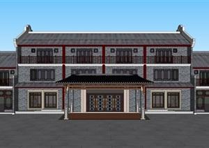 仿古建筑酒店仿古 SU(草图大师)模型