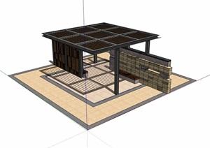 园林景观景墙廊架素材设计SU(草图大师)模型