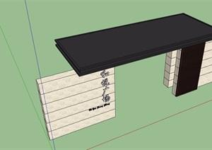 园林景观标志墙大门素材设计SU(草图大师)模型
