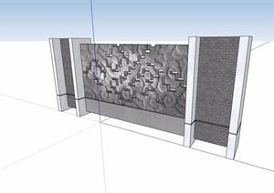中式独特详细景观墙设计SU(草图大师)模型