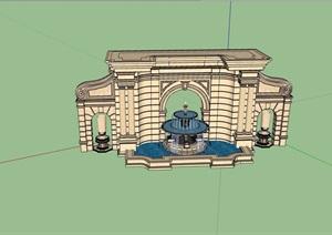 欧式风格水钵水景墙设计SU(草图大师)模型