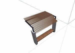 中式休闲廊架及坐凳素材设计SU(草图大师)模型