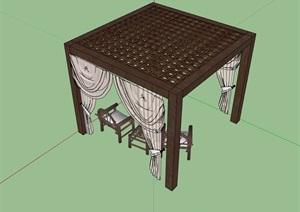 中式详细的休闲廊架素材设计SU(草图大师)模型