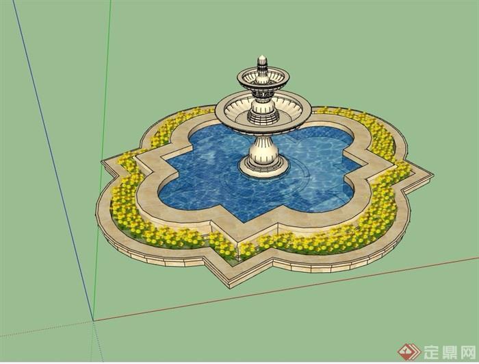 园林景观详细的水池水钵素材设计su模型