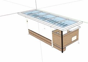 园林景观详细的休闲玻璃廊架素材SU(草图大师)模型