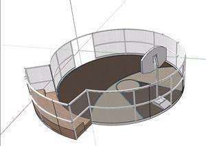 运动篮球场设计SU(草图大师)模型