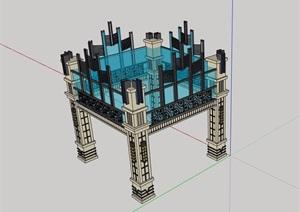 新古典风格详细的玻璃景观亭SU(草图大师)模型