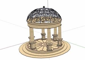 欧式风格详细的园林圆亭SU(草图大师)模型