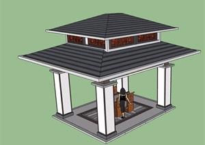 中式风格重檐亭素材SU(草图大师)模型