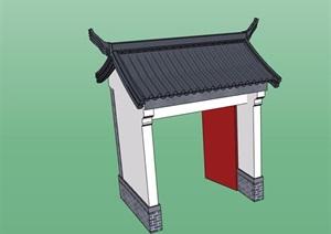 中式合院门素材设计SU(草图大师)模型