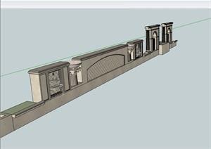 欧式详细的经典景墙SU(草图大师)模型