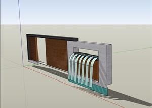 独特现代景观墙设计SU(草图大师)模型