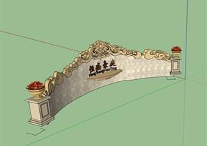 欧式风格详细标志景观墙SU(草图大师)模型
